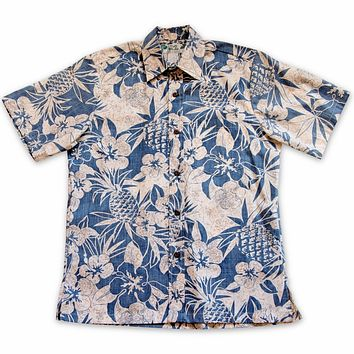 sweet pineapple blue reverse print hawaiian cotton shirt