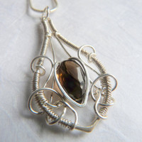 Necklace Smoky Quartz Pendant - Sterling Silver - Handmade Wire Wrapped Necklace - Gemstone Jewelry