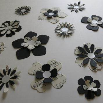 Paper Flower Stickers, 12 Piece Set Black and Sheet Music, Only 1 Available