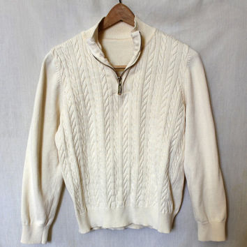 Vintage Ski Sweater White Cable Knit Jumper Zip Up Collar 70s Winter Shirt