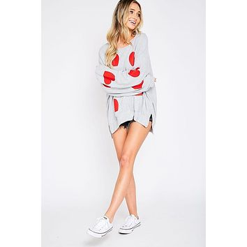 Heather Gray and Red Heart Boyfriend Top