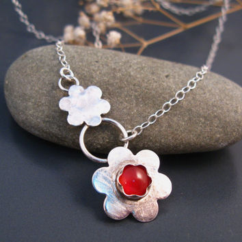 Botanic jewelry, Red fashion, Asymetric necklace in sterling silver and red Agate, red flower necklace