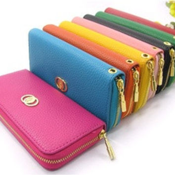 Hot sale excellent quality PU leather women copper zipper purse wallet, lady clutch bags purse 5 colors [7898497351]