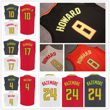 Screen Printed 2017 New 24 Kent Bazemore Jersey 17 Dennis Schroder 10 Tim Hardaway Jr 8 Dwight Howard 4 Paul Millsap Basketball Jerseys