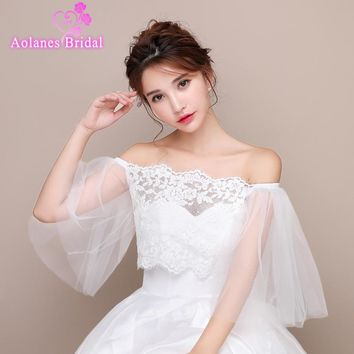 2017 Off White Ivory Wedding Bolero Lace Appliques Shrug Shawl Women Bolero Off Shoulder Wedding Jacket Caps Wedding Accessories