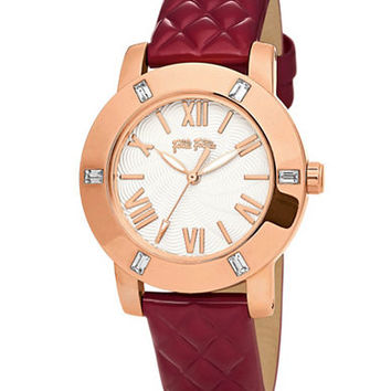 Folli Follie Ladies Donatella Rose Gold And Red Leather Watch