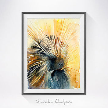 Porcupine watercolor painting print, Porcupine art, animal art, illustration, animal watercolor, animal poster, animals, Porcupine
