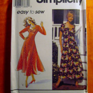 Sale Uncut 1992 Simplicity Sewing Pattern, 8245! 12-14-16 Medium/Large/Women's/Misses/Retro Style Flared Dress/Sweetheart Neckline/Short Sle