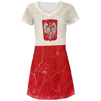 Distressed Grunge Polish Crest Flag Juniors V-Neck Beach Cover-Up Dress
