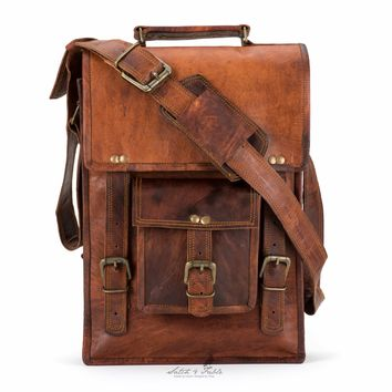 Handmade Moroccan goat Leather  North-South Laptop Briefcase
