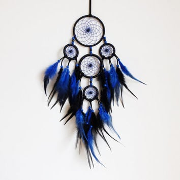 Dreamcatcher, Boho Dreamcatcher, Black Dreamcatcher, Boho Decoration, Blue Dreamcatcher, Boho Wall Hanging, Gypsy, Bohemian, Hippie