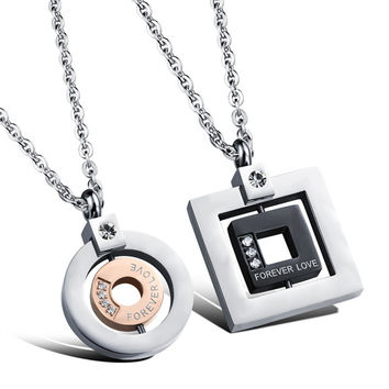 Japanese and South Korean couple pendant simple sculpture diamond inlaid square and circle ring with loving heart couple necklace