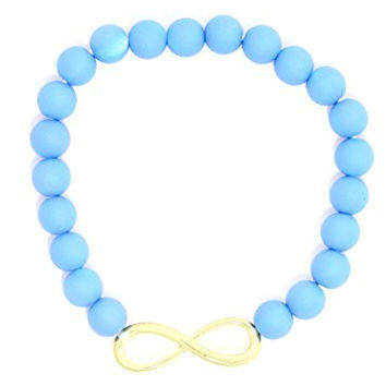 Infinity Sign Beaded Stretch Bracelet Baby Blue Cuff BA53 Fashion Jewelry