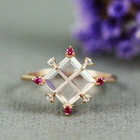 Pink Gold Rose Quartz Ruby White CZ Square Ring