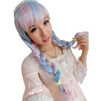 Glorious Long Wavy Full Wigs Pink Blue White Mix Cosplay Anime Party Wig