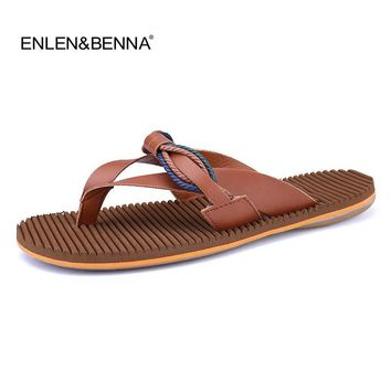 Hot Sales 2017 Summer Cool Men PU Leather Flip Flops British Style EVA Massage Beach Sandals Male Slippers Shoes Zapatos Hombre