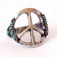 Hippie Lover ring, Peace sign ring, turquoise ring, gypsy ring, bohemian ring