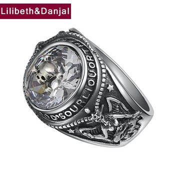 New Design Man's Ring 100% Real 925 Sterling Thai Silver Zircon Punk Vintage Skull Inlaid Ring Male Female Jewelry Fr17