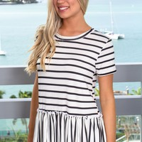 Ivory and Black Striped Babydoll Top
