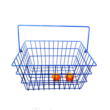 Vintage Wire Basket Industrial Bright Blue Grocery Basket