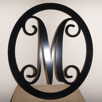 "12""  Metal Monogram Door Hanger / Wreath - Custom- Over 25 color choices,"