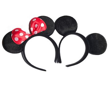 12pcs Hair Accessories Mickey Minnie Mouse Ears Solid Black & Red Bow Headband for Boys and Girls Birthday Party or Celebrations