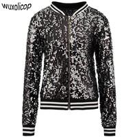 Sparkly Autumn Women Sequin Bomber Jacket Casual Long Sleeve Front Zip Up Casual Coat with Ribbed Cuffs Party Festival Costumes