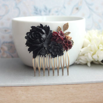 Black Rose Flower Hair Comb Maroon Burgundy, Black Goth Rose Comb Black Goth Brown Antiqued Brass Leaf Hair Comb Fall Halloween Winter Black