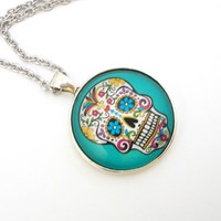 Blue Sugar Skull Pendant Necklace