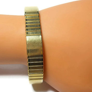 Magnetic therapy bracelet, gold stretch, made by Major, stainless magnetic bracelet, unisex