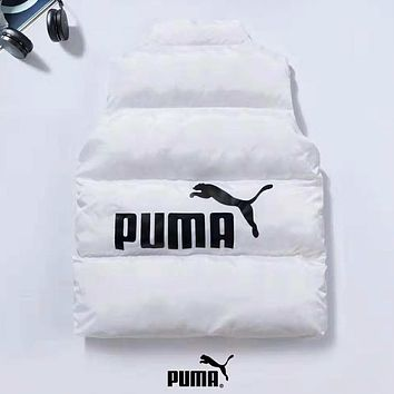 PUMA Autumn And Winter New Fashion Bust Print And Back Print Vest Top Coat Down Jacket White