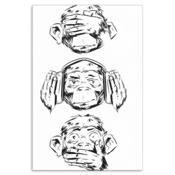 Three Wise Monkeys Design Monkey Face Funny Wall Canvas Art