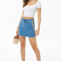 Rainbow Striped-Trim Denim Mini Skirt