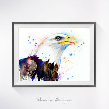 Bald Eagle watercolor painting print, Bald Eagle art, animal watercolor, animal illustration, Eagle illustration, Eagle print, bird art,