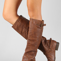 Breckelle Double Buckle Ruched Riding Knee High Boot