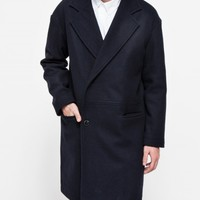 Topman Navy Drop Shoulder Wool Coat
