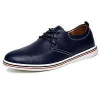Genuine Leather Men Formal Shoe Black Blue Lace Up Wedding Dress Men's Oxfords Business Brogue Shoes