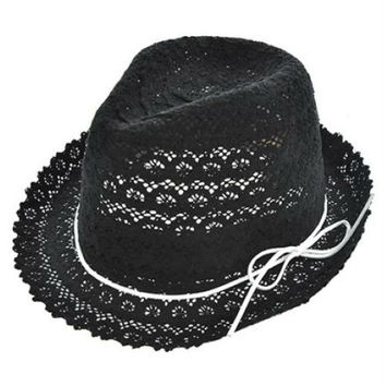 Womens Black Cotton Crochet Lace Fedora Hat White Leather Cord Accent UV Protection 50+