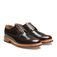 Grenson Sid Leather Brogue Shoe in Burgundy