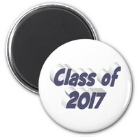 Class of 2017 3D Magnets, Blue Gray 2 Inch Round Magnet
