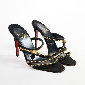 PEAPU2C Black and Gold Toned Suede Christian Louboutin Unzipped Open Toe Mules
