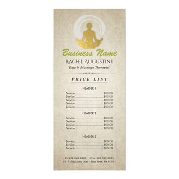 Gold Yoga Meditation Pose & ZEN Symbol Price List Rack Card