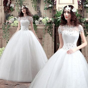 Robe De Mariee 2018 Ball Gown Wedding Dresses Vintage Corset Back Plus Size Short Sleeves Bridal Gowns Shop Online China Alibaba