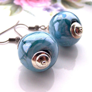 Rustic Earrings, Boho Chunky Blue Earrings, Silver & Pale Blue, Ceramic Beads, Quirky, Unusual, Fun, Modern Earrings