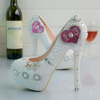 Milanblocks Celebrity Handmade Luxury Bead Heels Customized Shoes Wedding Party Heels