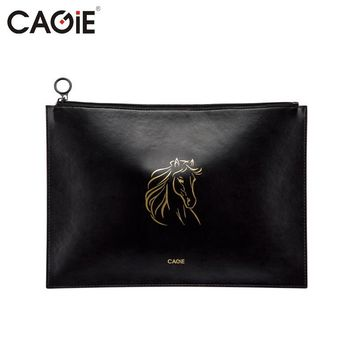 CAGIE Vintage Creative A4 Filing Products Business Office Pu Leather Waterproof Padfolio Black Animal/White Filing Folder