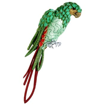 """22.5"""" Life Size Tropical Paradise Green and Red Parrot Bird with Tail Feathers"""