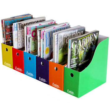 Evelots 6 Magazine/File Holders W/ Adhesive Labels, 5 Color Styles, Multi-Color