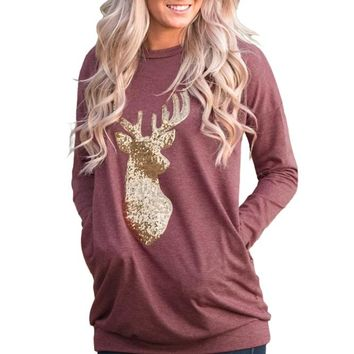 Chicloth Sparkling Gold Sequin Reindeer Burgundy Christmas Top