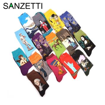 Eliot Grey 5 Piece Set Of Combed Cotton Colorful Van Gogh Retro Oil Painting Socks